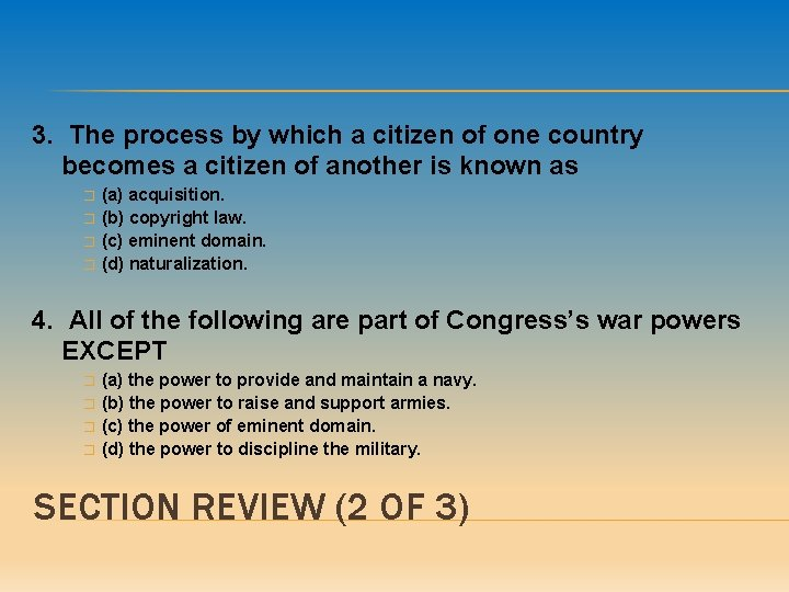3. The process by which a citizen of one country becomes a citizen of