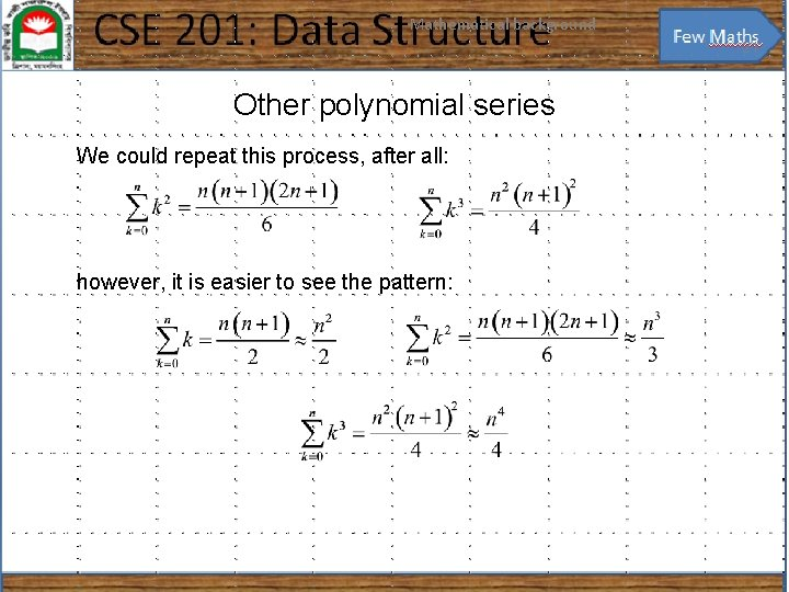 Mathematical background 21 Other polynomial series We could repeat this process, after all: however,