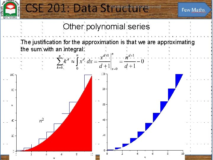 Mathematical background 23 Other polynomial series The justification for the approximation is that we