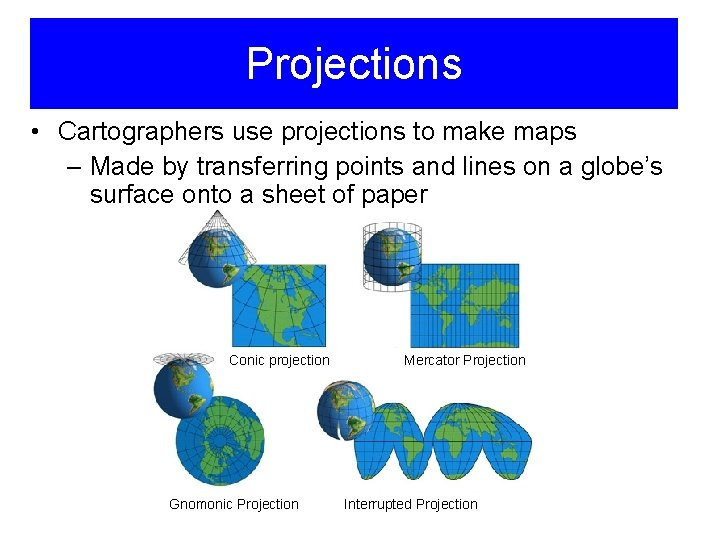 Projections • Cartographers use projections to make maps – Made by transferring points and