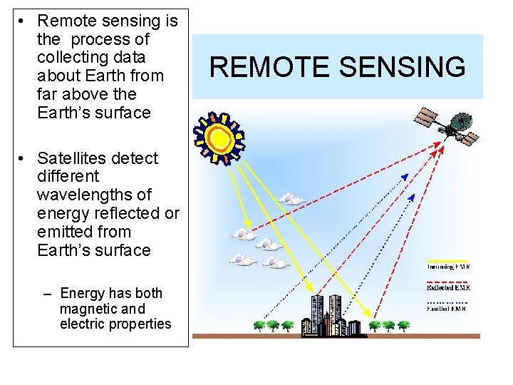 • Remote sensing is the process of collecting data about Earth from far