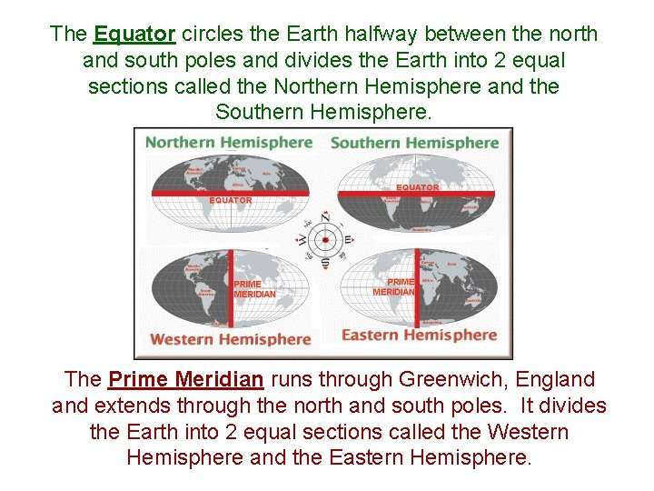 The Equator circles the Earth halfway between the north and south poles and divides