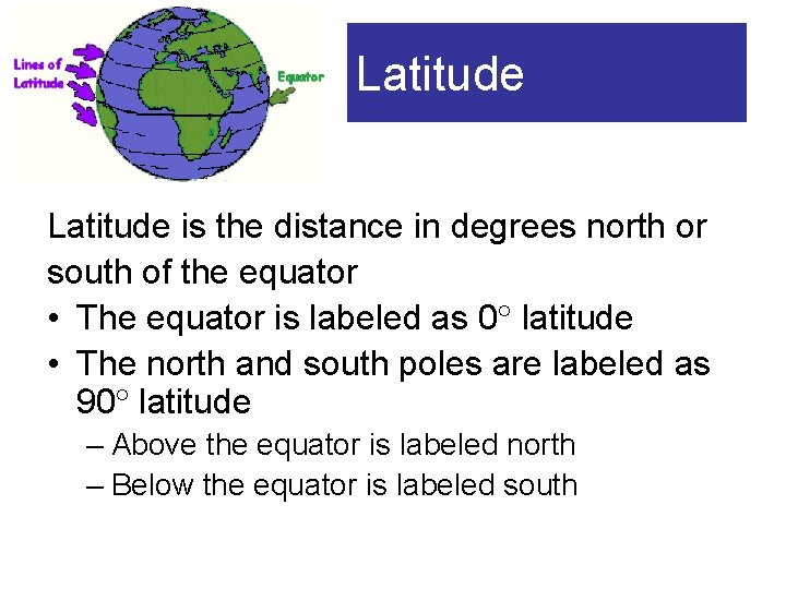 Latitude is the distance in degrees north or south of the equator • The