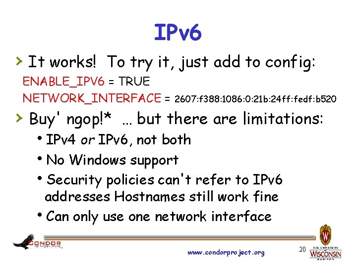IPv 6 › It works! To try it, just add to config: ENABLE_IPV 6