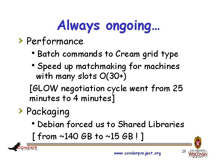 Always ongoing… › Performance h. Batch commands to Cream grid type h. Speed up