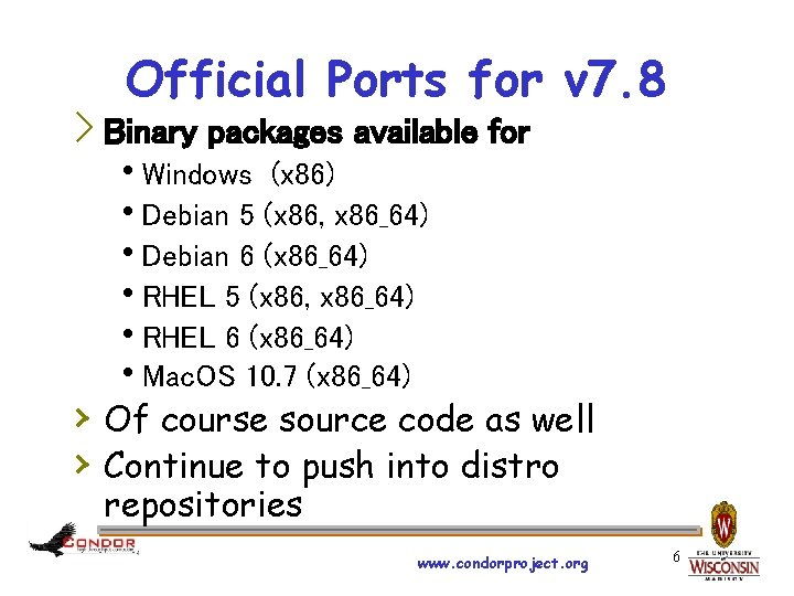 Official Ports for v 7. 8 › Binary packages available for h. Windows (x
