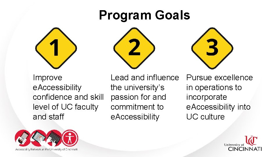 Program Goals Improve e. Accessibility confidence and skill level of UC faculty and staff