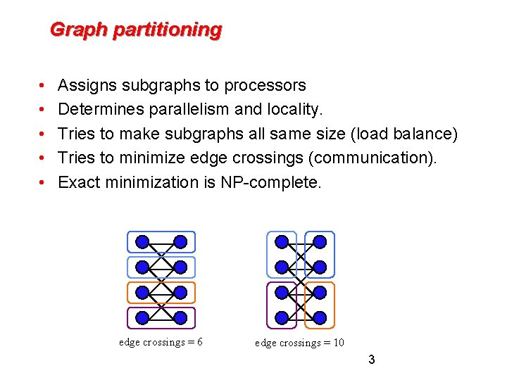 Graph partitioning • • • Assigns subgraphs to processors Determines parallelism and locality. Tries