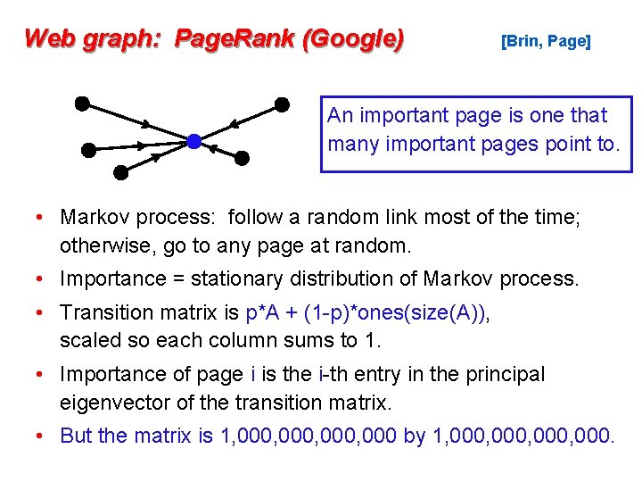 Web graph: Page. Rank (Google) [Brin, Page] An important page is one that many