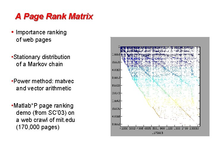 A Page Rank Matrix • Importance ranking of web pages • Stationary distribution of
