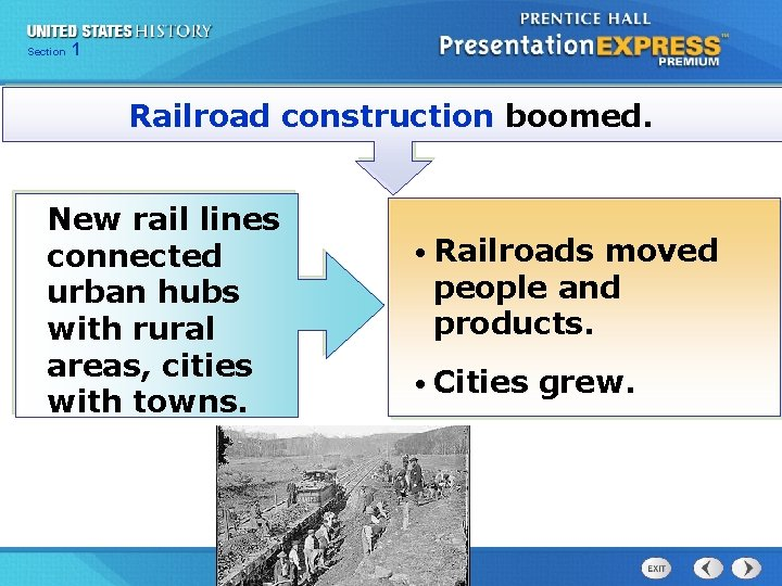 Chapter Section 1 25 Section 1 Railroad construction boomed. New rail lines connected urban