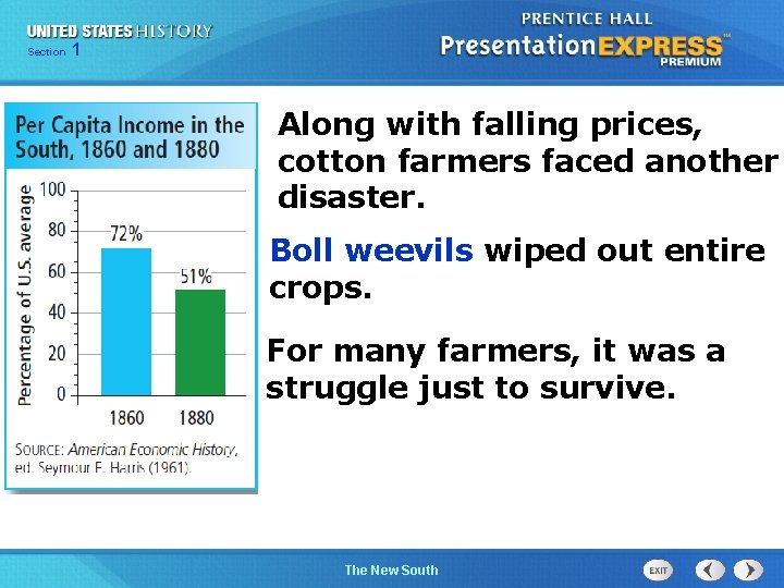Chapter Section 1 25 Section 1 Along with falling prices, cotton farmers faced another