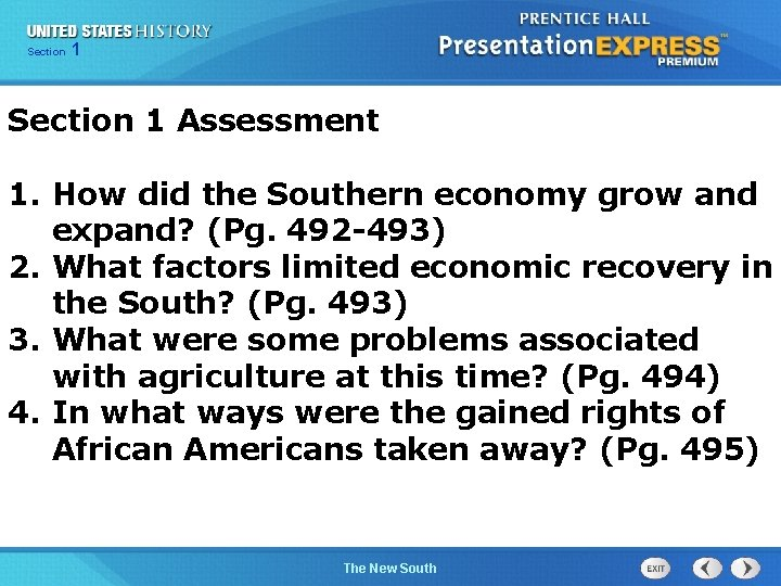 Chapter Section 1 25 Section 1 Assessment 1. How did the Southern economy grow