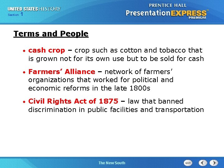 Chapter Section 1 25 Section 1 Terms and People • cash crop – crop