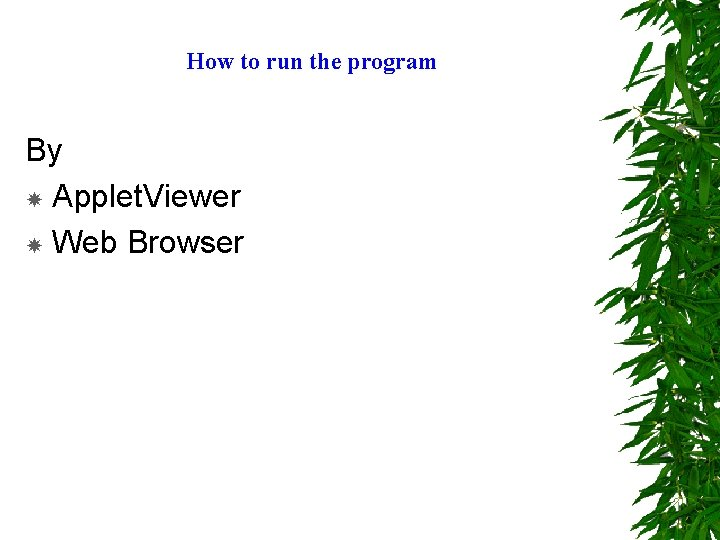 How to run the program By Applet. Viewer Web Browser