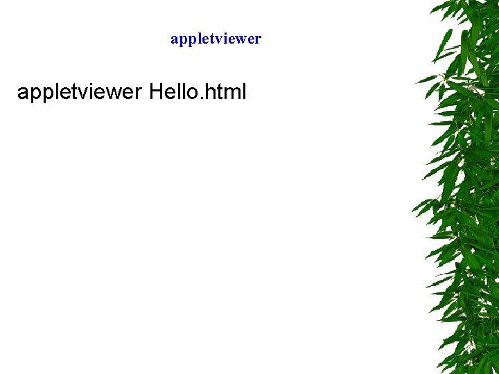 appletviewer Hello. html