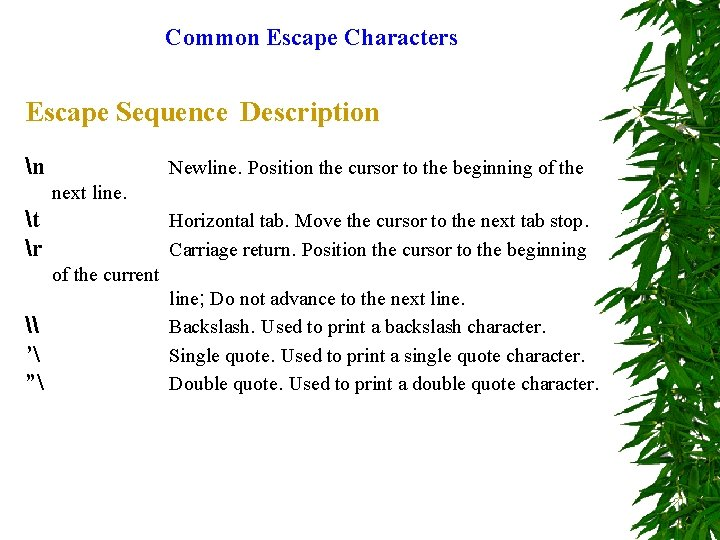 Common Escape Characters Escape Sequence Description n Newline. Position the cursor to the beginning