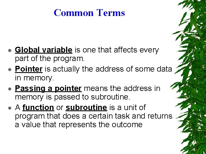 Common Terms Global variable is one that affects every part of the program. Pointer