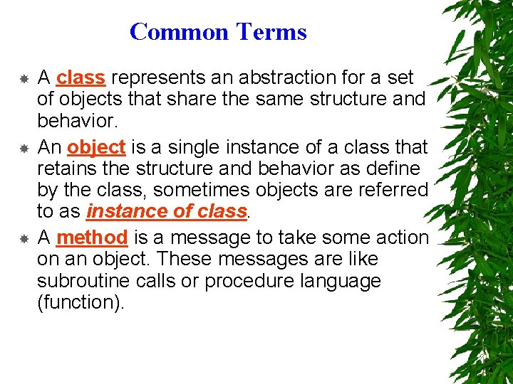 Common Terms A class represents an abstraction for a set of objects that share