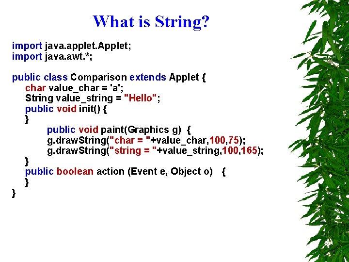 What is String? import java. applet. Applet; import java. awt. *; public class Comparison