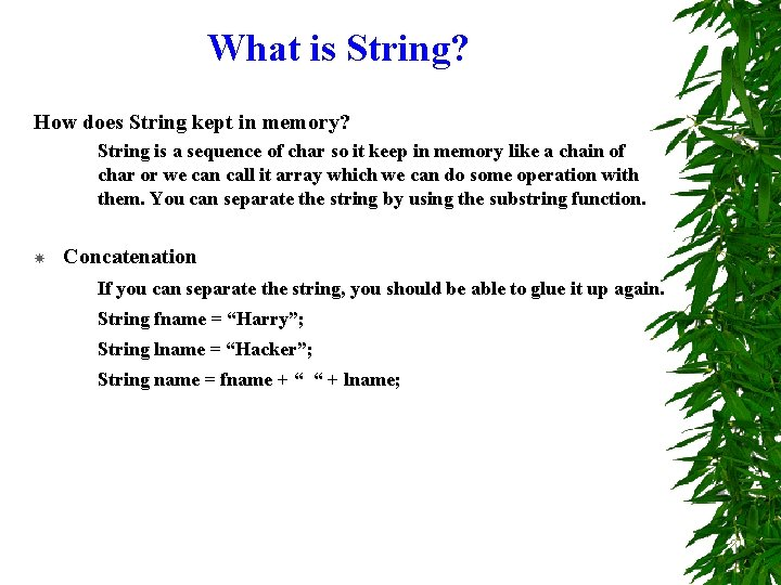 What is String? How does String kept in memory? String is a sequence of