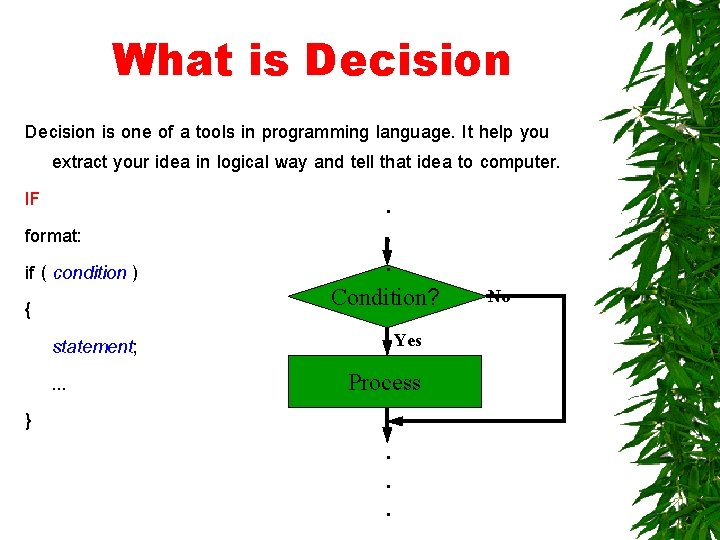 What is Decision is one of a tools in programming language. It help you