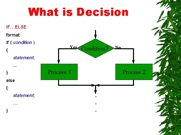 What is Decision IF…ELSE format: if ( condition ) { statement; . . .