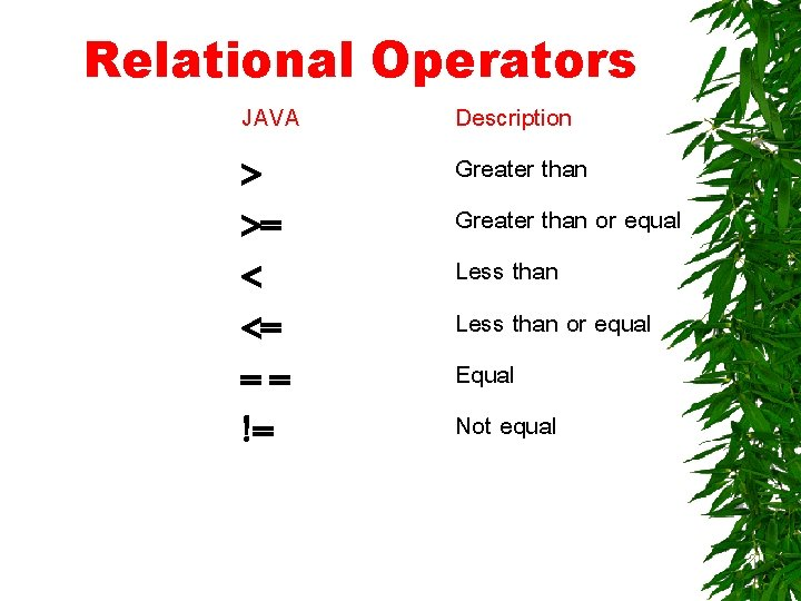 Relational Operators JAVA > >= < <= == != Description Greater than or equal