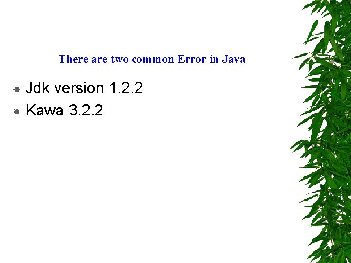 There are two common Error in Java Jdk version 1. 2. 2 Kawa 3.