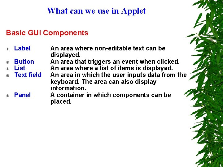 What can we use in Applet Basic GUI Components Label Button List Text field