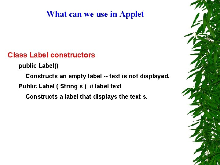What can we use in Applet Class Label constructors public Label() Constructs an empty