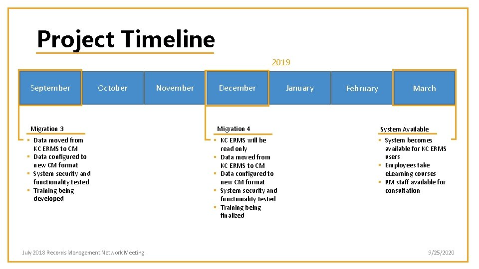 Project Timeline 2019 September October Migration 3 § Data moved from KC ERMS to