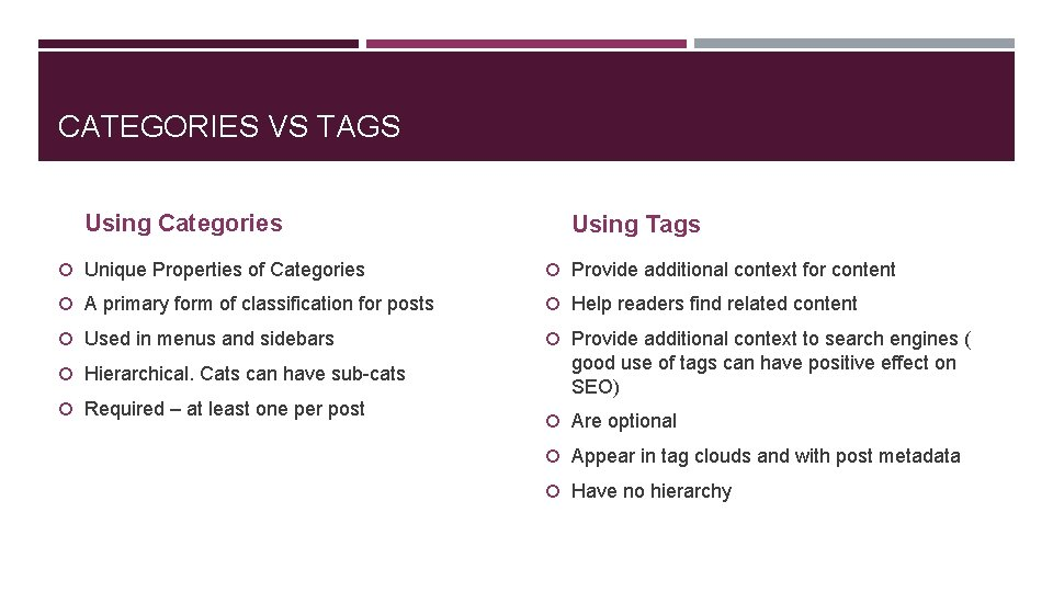 CATEGORIES VS TAGS Using Categories Using Tags Unique Properties of Categories Provide additional context