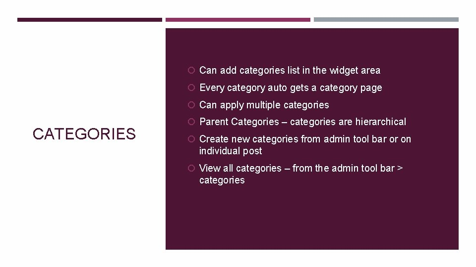 Can add categories list in the widget area Every category auto gets a