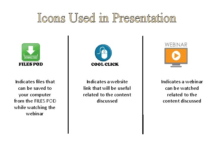 Icons Used in Presentation Indicates files that can be saved to your computer from