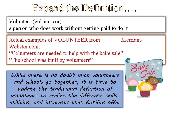 Expand the Definition…. Volunteer (vol-un-teer): a person who does work without getting paid to
