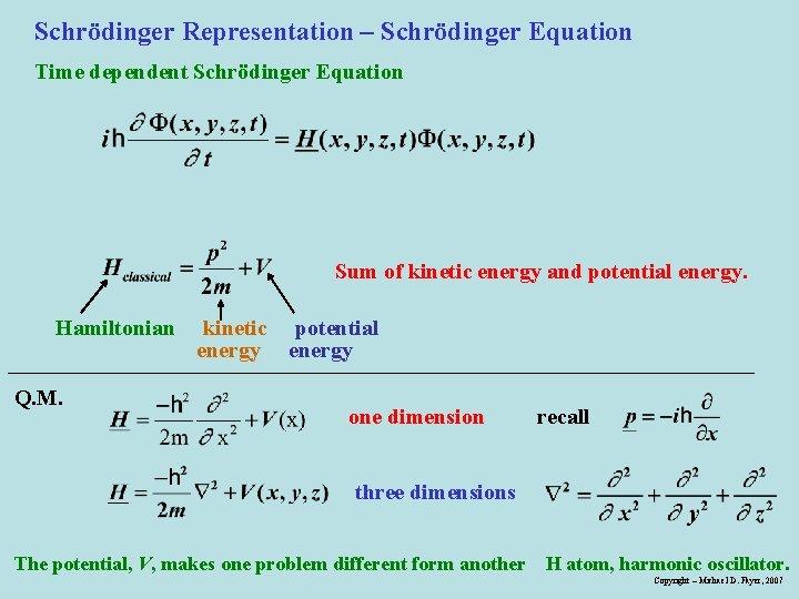 Schrödinger Representation – Schrödinger Equation Time dependent Schrödinger Equation Sum of kinetic energy and