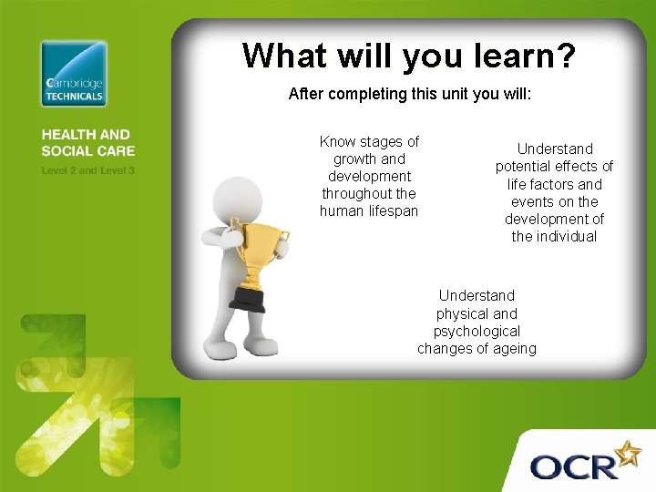 What will you learn? After completing this unit you will: Know stages of growth