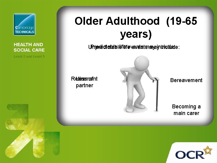 Older Adulthood (19 -65 years) Predictable life Unpredictable lifeeventsmay mayinclude: Retirement Loss of partner