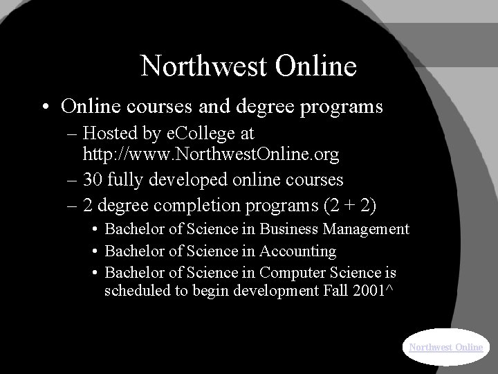 Northwest Online • Online courses and degree programs – Hosted by e. College at