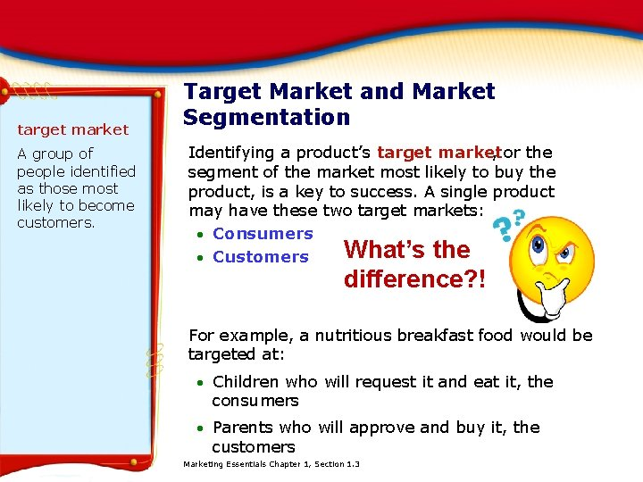 target market A group of people identified as those most likely to become customers.