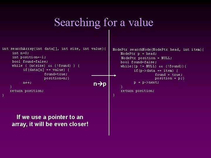 Searching for a value int search. Array(int data[], int size, int value){ int n=0;