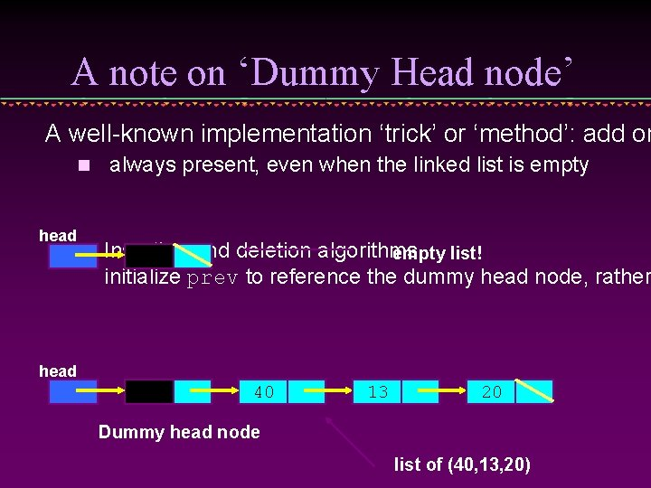 A note on 'Dummy Head node' A well-known implementation 'trick' or 'method': add on