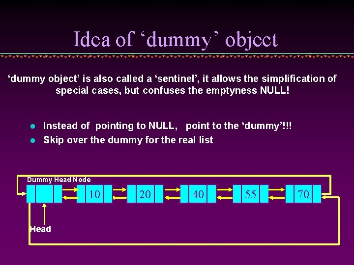 Idea of 'dummy' object 'dummy object' is also called a 'sentinel', it allows the