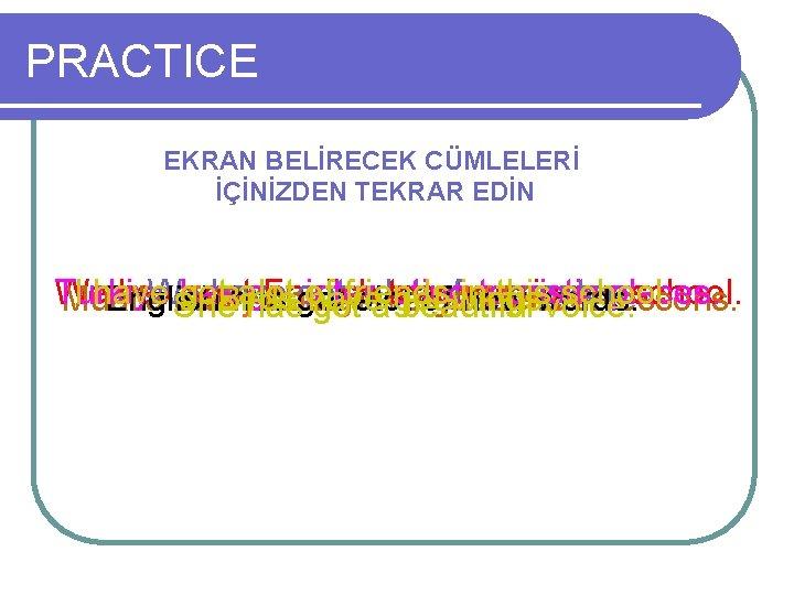 PRACTICE EKRAN BELİRECEK CÜMLELERİ İÇİNİZDEN TEKRAR EDİN Turkiye We I have We got has