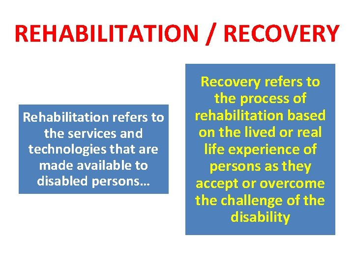 REHABILITATION / RECOVERY Rehabilitation refers to the services and technologies that are made available
