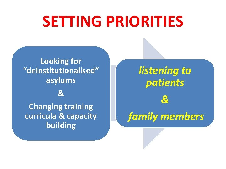 """SETTING PRIORITIES Looking for """"deinstitutionalised"""" asylums & Changing training curricula & capacity building listening"""