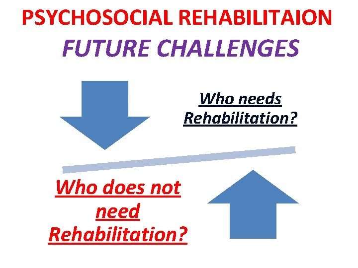 PSYCHOSOCIAL REHABILITAION FUTURE CHALLENGES Who needs Rehabilitation? Who does not need Rehabilitation?