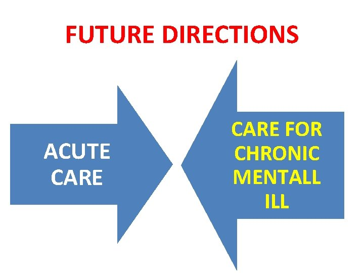FUTURE DIRECTIONS ACUTE CARE FOR CHRONIC MENTALL ILL