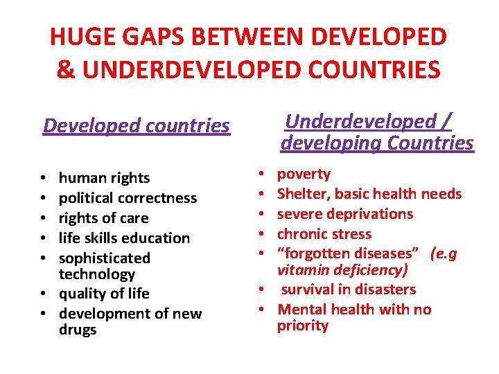 HUGE GAPS BETWEEN DEVELOPED & UNDERDEVELOPED COUNTRIES Underdeveloped / developing Countries Developed countries human